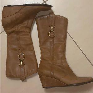Aquatalia mid calf bootie wedge heel Size 7